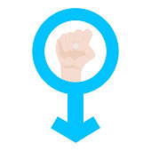 Man's Resist Symbol isolated on white background. Male Symbol. Man Power. Fist Raised Up. Vector illustration.