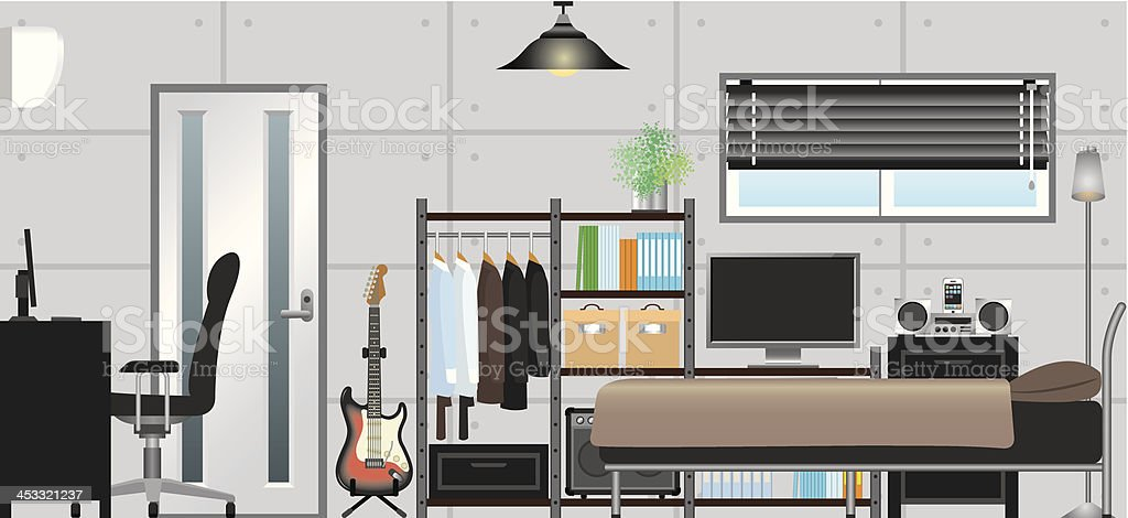 Man's room royalty-free stock vector art
