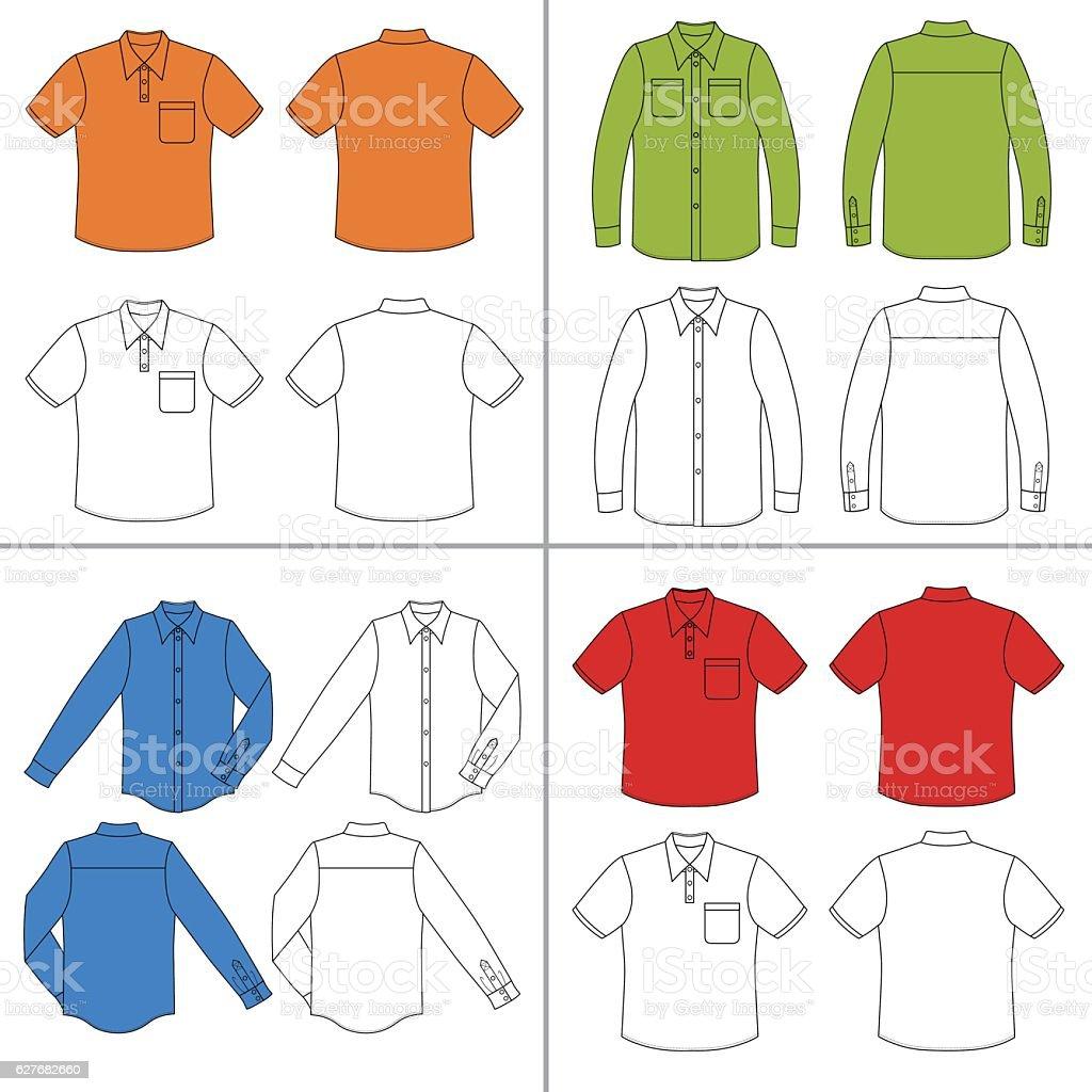 Man's shirt set vector art illustration