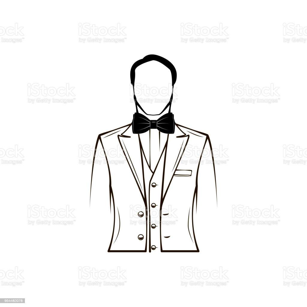 Mans Silhouette Wedding Mens Suit Tuxedo Bow Tie Groom