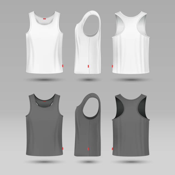 Mans white blank tank singlet. Male shirt without sleeves vector template Mans white blank tank singlet. Male shirt without sleeves vector template. T-shirt front and back, illustration of mock up shirt tank top stock illustrations