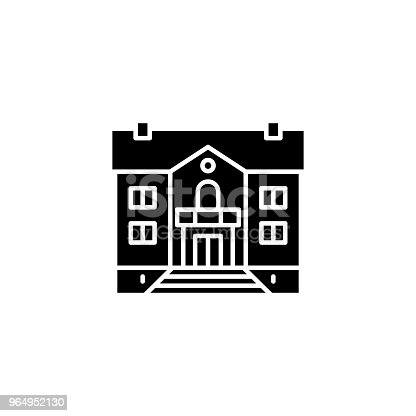 178842131 istock photo Mansion black icon concept. Mansion flat  vector symbol, sign, illustration. 964952130