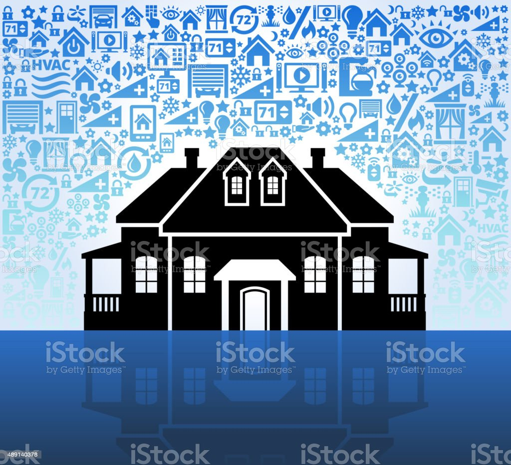 mansion on Home Automation and Security Vector Background vector art illustration