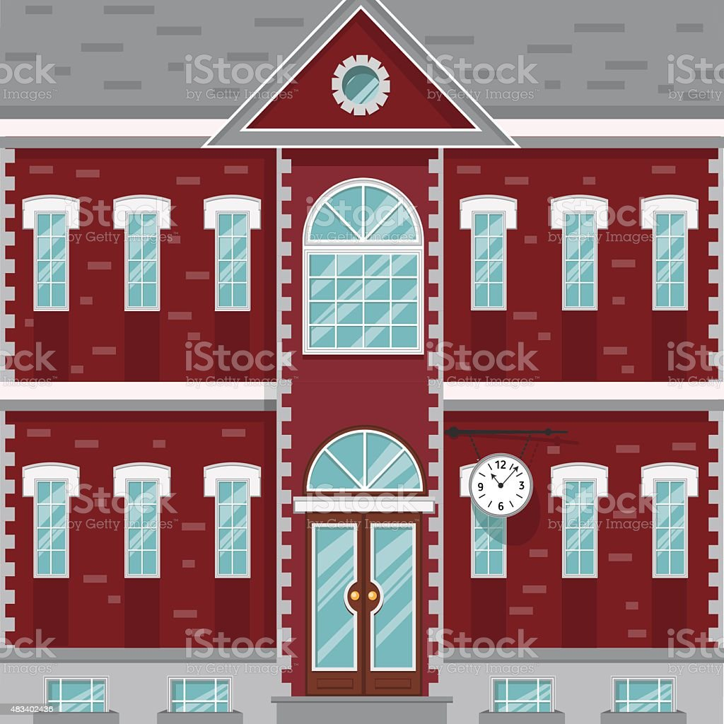 Mansion, red and white old building with clock on the