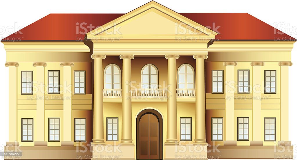 mansion with columns vector art illustration