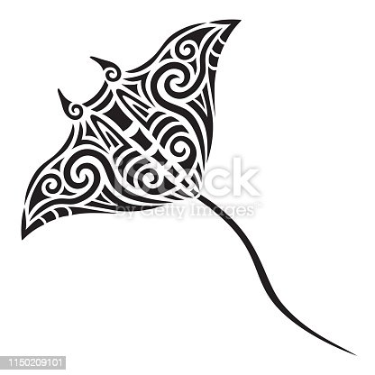 Manta or Sting Ray tattoo tribal stylised maori koru design ideal for tattoo design - easy color change