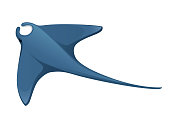 istock Manta ray underwater giant animal with wings simple cartoon character design flat vector illustration isolated on white background 1219046123