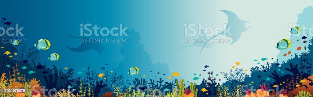 Mantas, barrière de corail, mer sous-marine. - clipart vectoriel de Animaux à l'état sauvage libre de droits