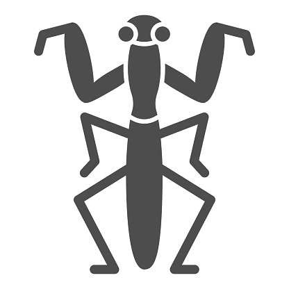 Mantis solid icon, Insects concept, Beetle sign on white background, praying mantis icon in glyph style for mobile concept and web design. Vector graphics.