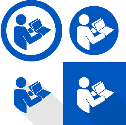 Refer to instruction manual sign. Vector illustration of circular blue sign with upper human figure holding open book icon inside. Read instruction booklet before start work. Safety label.