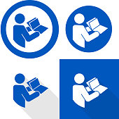 istock Manual book symbol. Read before use. Refer to instruction manual booklet mandatory sign 1297644199