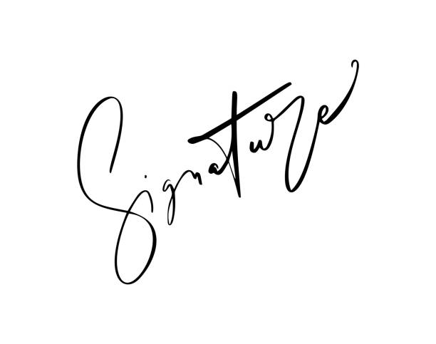 Manual signature for documents on white background. Hand drawn Calligraphy lettering Vector illustration Manual signature for documents on white background. Hand drawn Calligraphy lettering Vector illustration. signature collection stock illustrations