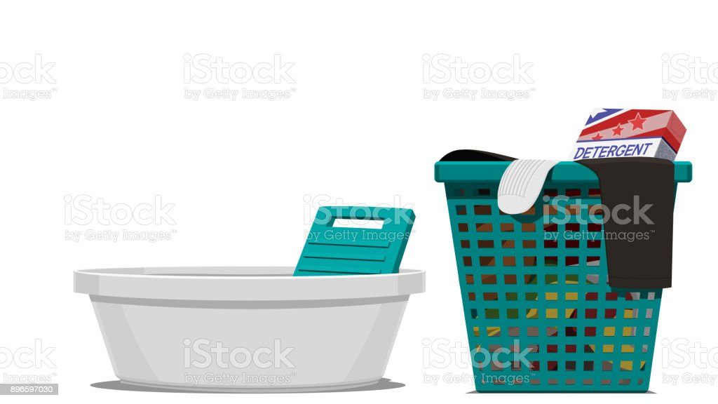 Manual washing vector art illustration