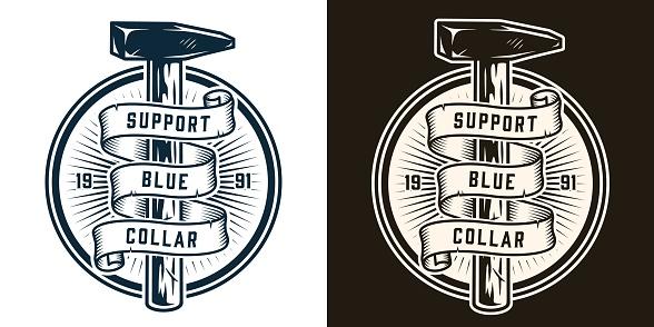 Manual work monochrome round badge