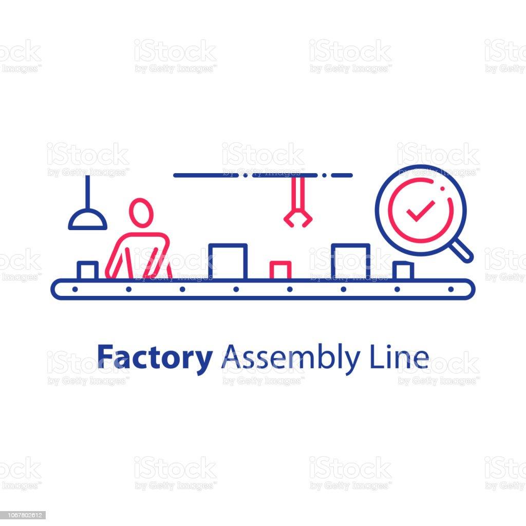 Arbeider op transportband, lopende band, productie fabriek, controleren en verpakking, systeem voor kwaliteitscontrolevectorkunst illustratie