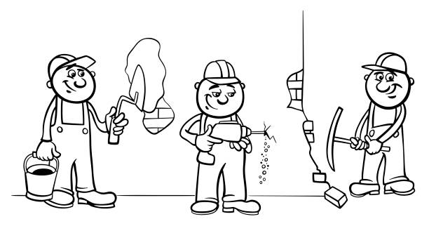 Royalty Free Concrete Construction Worker Cartoon Job Clip