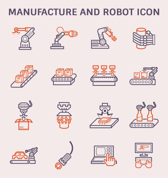 manufacture robot icon Manufacture robot and production line icon set. automobile industry stock illustrations