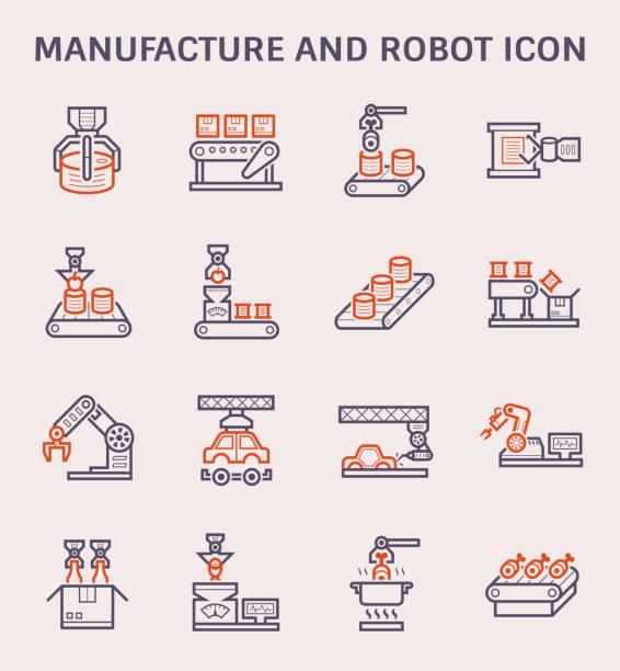 herstellung von roboter-symbol - nahrungsmittelindustrie stock-grafiken, -clipart, -cartoons und -symbole
