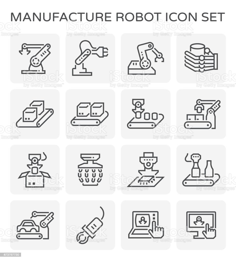manufacture robot icon vector art illustration