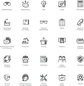 Manufacturing and distribution icon set