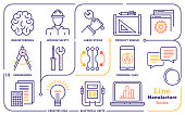 Line icon set vector illustrations of manufacturing, mechanical components and product development.