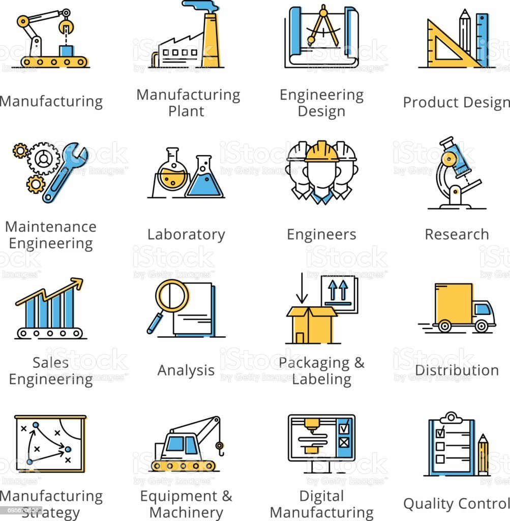 Manufacturing Engineering Icons - Outline Series vector art illustration