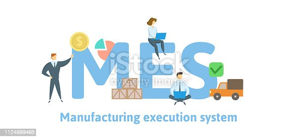 istock MES, Manufacturing execution system. Concept with keywords, letters and icons. Flat vector illustration. Isolated on white background. 1124699465