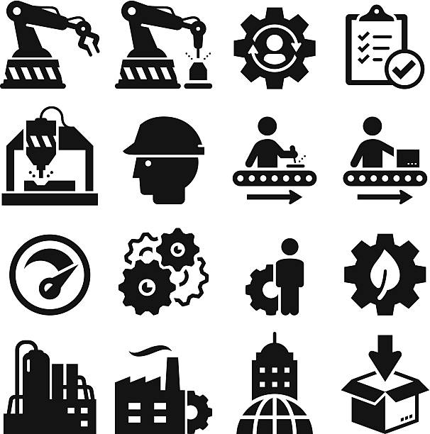 Manufacturing Icons - Black Series Manufacturing plant and factory icons. Vector icons for video, mobile apps, Web sites and print projects.  manufacturing stock illustrations
