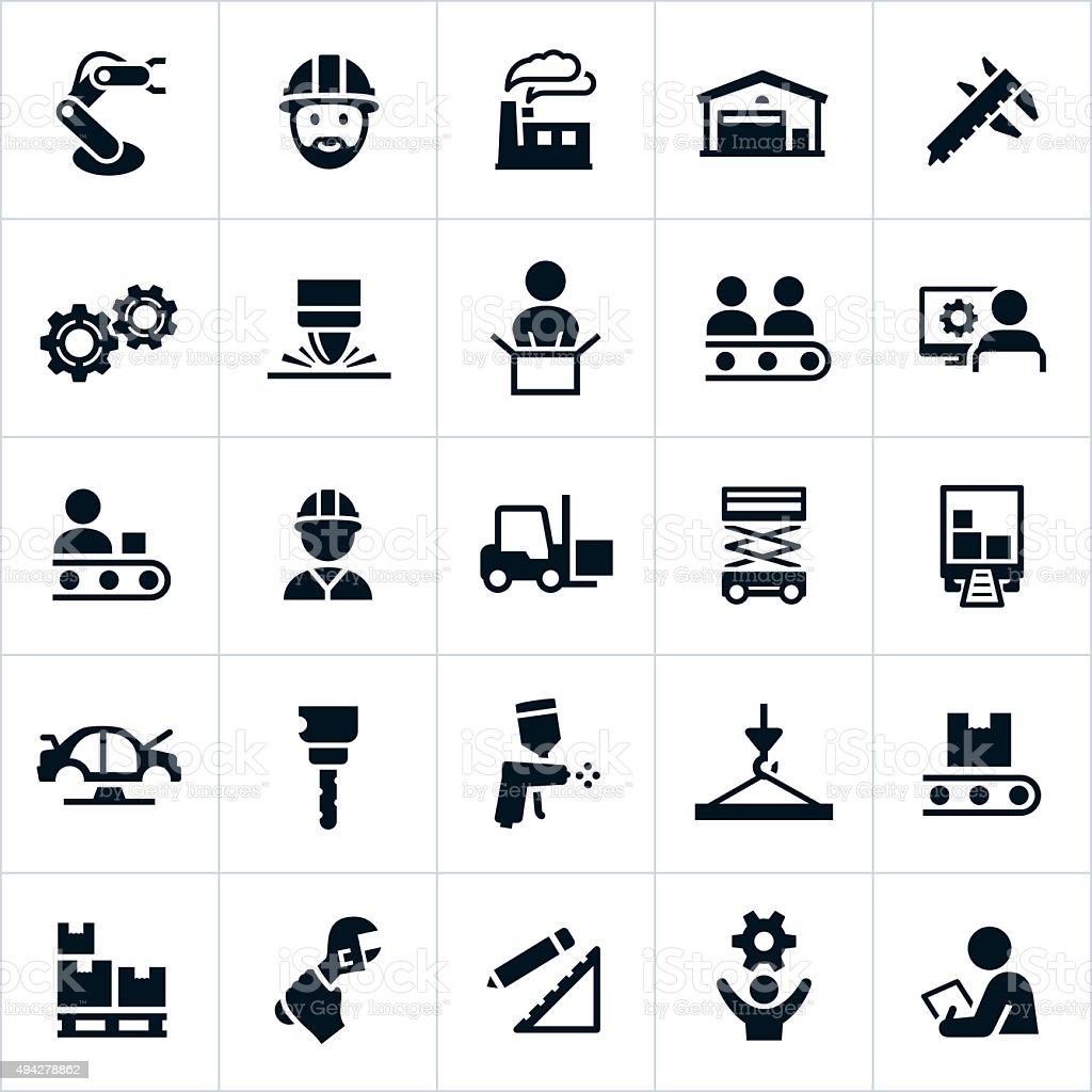 Manufacturing Iconsvectorkunst illustratie