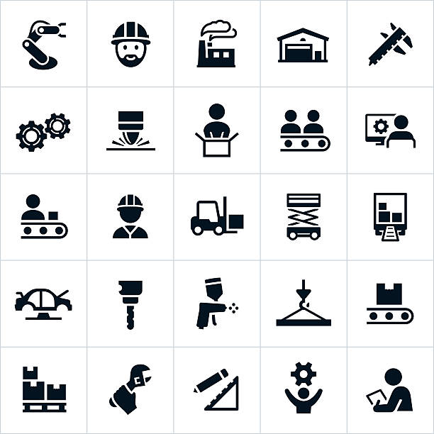 Manufacturing Icons Black manufacturing industry icons. The icons represent common manufacturing related themes including workers, factories, assembly lines, engineers, equipment and other symbols related to the manufacturing industry. manufacturing stock illustrations