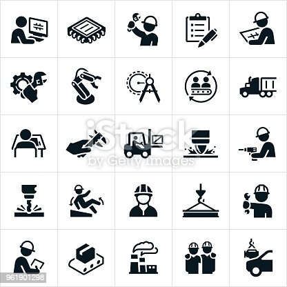 A set of manufacturing icons. The icons include engineers, workers, design, manufacturing, computer chip, cog, work tools, robotics, automation, drawing compass, assembly line, semi-truck, fork lift, welding, drill, safety, accident, materials, factory and other manufacturing industry related icons.