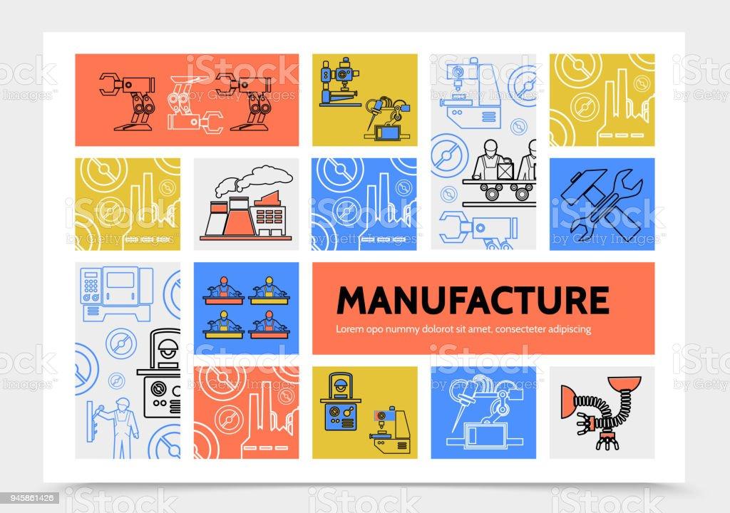 Productie Infographic Conceptvectorkunst illustratie