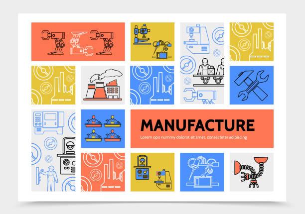 illustrations, cliparts, dessins animés et icônes de concept de production infographique - infographie industrie manufacture production