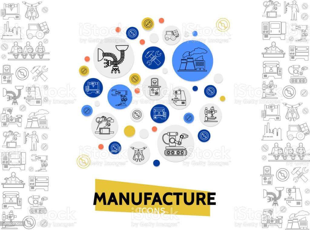 製造ライン アイコン テンプレート アイコンのベクターアート素材や