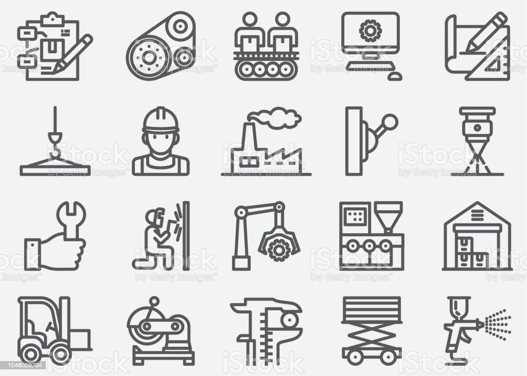 Productie lijn pictogrammenvectorkunst illustratie