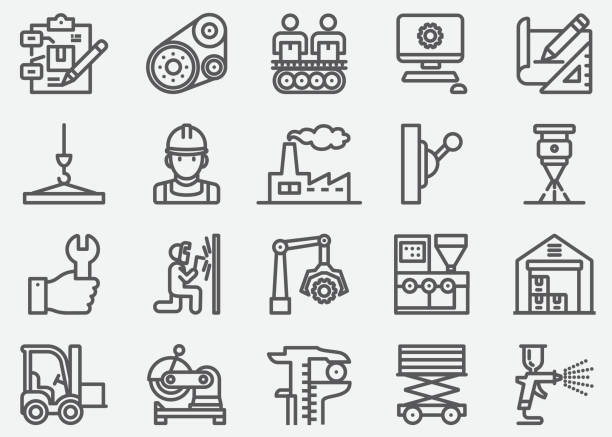 Manufacturing Line Icons Manufacturing Line Icons manufacturing stock illustrations