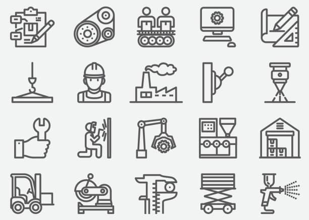 manufacturing line icons - produkować stock illustrations