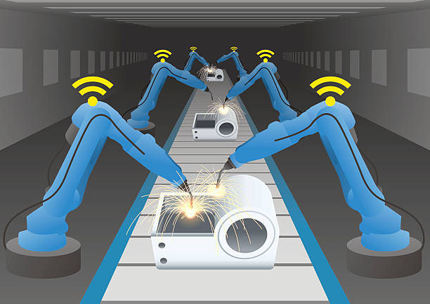 illustrazioni stock, clip art, cartoni animati e icone di tendenza di manufacturing line of a automotive factory and welding robots - metal robot in logistic factory