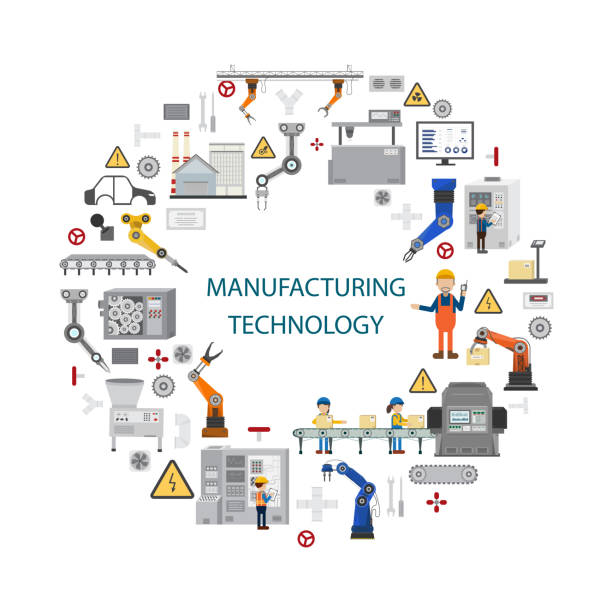 Manufacturing technology concept vector art illustration