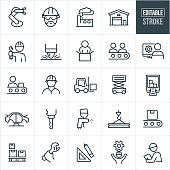 A set of manufacturing icons that include editable strokes or outlines using the EPS vector file. The icons include a manufacturing robotic arm, engineer wearing hardhat, factory, warehouse, worker holding wrench, spot welder, people on an assembly line, drafter on computer, forklift, automobile being manufactured, drill press, paint sprayer, steel, boxes on a crate, hand holding a wrench, square and pencil, person with cog, inspector and other related icons.