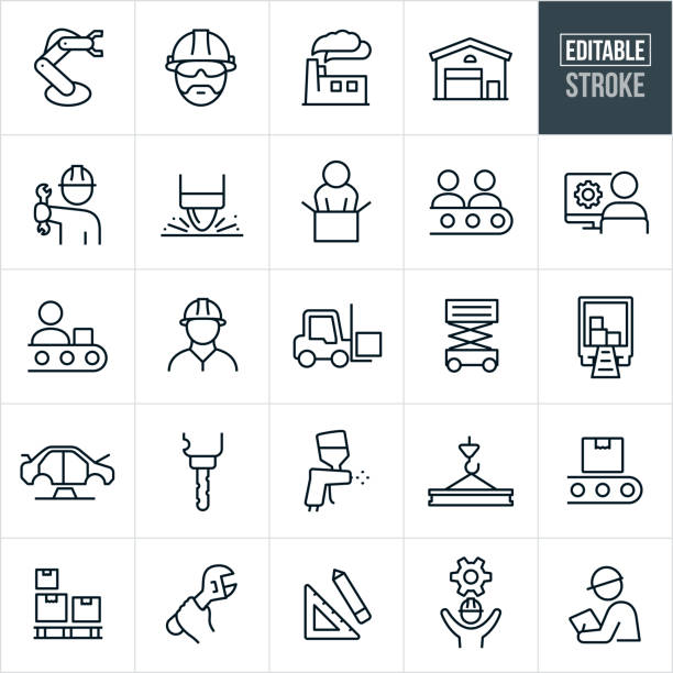 Manufacturing Thin Line Icons - Editable Stroke A set of manufacturing icons that include editable strokes or outlines using the EPS vector file. The icons include a manufacturing robotic arm, engineer wearing hardhat, factory, warehouse, worker holding wrench, spot welder, people on an assembly line, drafter on computer, forklift, automobile being manufactured, drill press, paint sprayer, steel, boxes on a crate, hand holding a wrench, square and pencil, person with cog, inspector and other related icons. manufacturing stock illustrations
