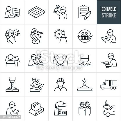A set of manufacturing icons that include editable strokes or outlines using the EPS vector file. The icons include a drafter at the computer, computer chip, engineer holding wrench, checklist, cog with wrench, robot arm, manufacturing equipment, drawing compass, assembly line, drafter at drafting table, electronics, two engineers shaking hands, spot welder, worker with drill, worker slipping and falling, engineer wearing hard hat, semi truck, inspector, product on conveyor belt, factory, and a car getting an engine to name a few.