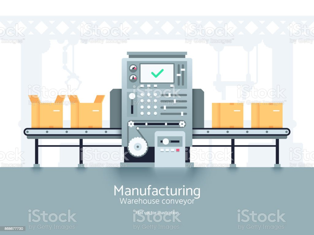 Manufacturing warehouse conveyor. Assembly production line flat vector industrial concept