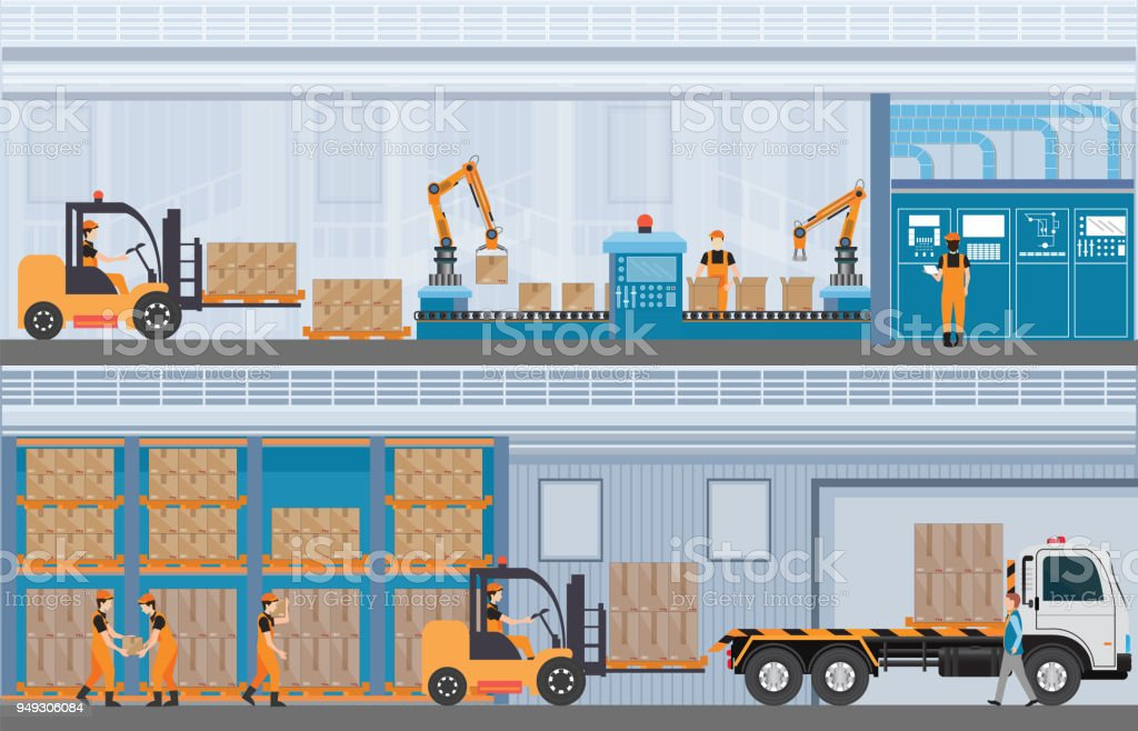 Manufacturing Warehouse Conveyor, Modern Assembly Production Line Industrial. vector art illustration