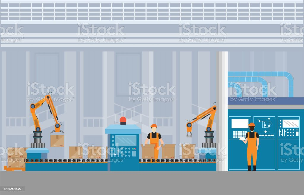Manufacturing Warehouse Conveyor with workers. vector art illustration