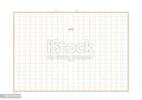 manuscript paper with squares for four hundred characters, beige