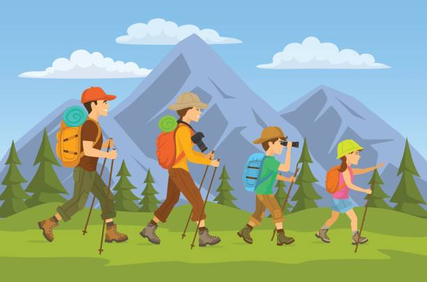 man,woman, children, family hikers traveling trekking with backpacks in mountains forest cartoon vector illustration man,woman, children, family hikers traveling trekking with backpacks in mountains forest cartoon vector illustration hiking stock illustrations
