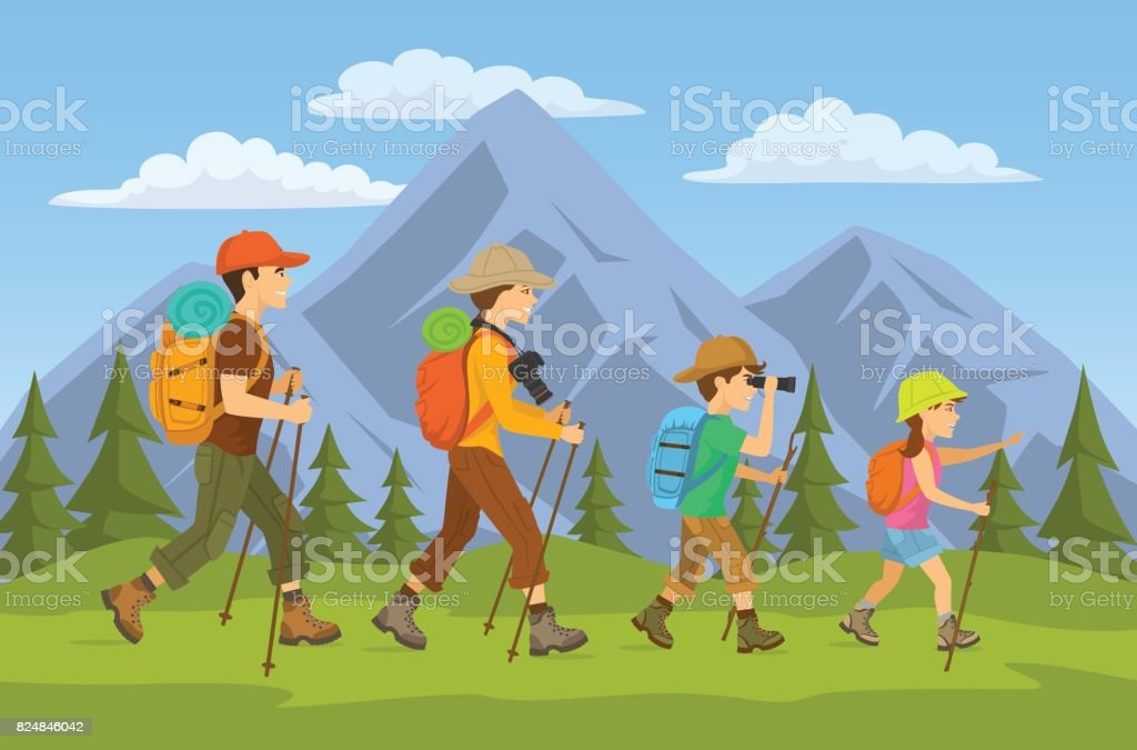 man,woman, children, family hikers traveling trekking with backpacks in mountains forest cartoon vector illustration vector art illustration