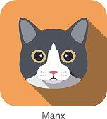 Manx Cat, Cat breed face cartoon flat icon design