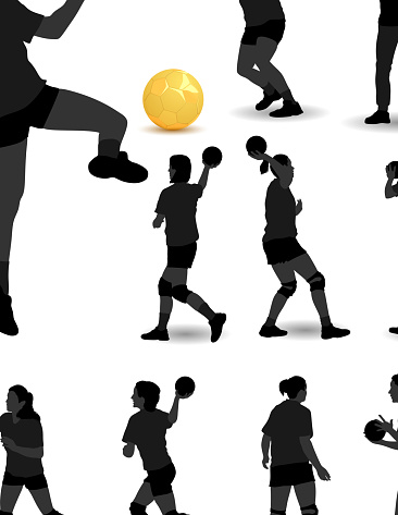 Many actions of handball, demonstrated by women and men
